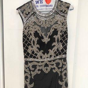 Black formal sleeveless open back gown